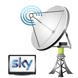 sky satellite dish with television
